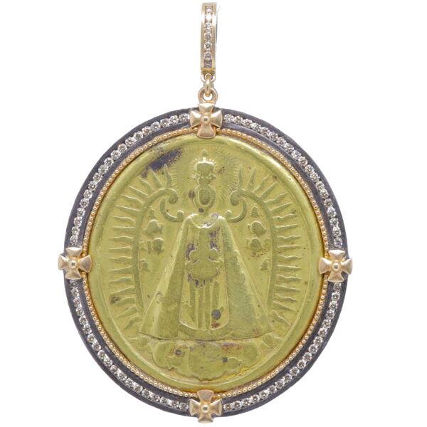 Closeup photo of Spanish Lady of Montserrat Mary Pendant