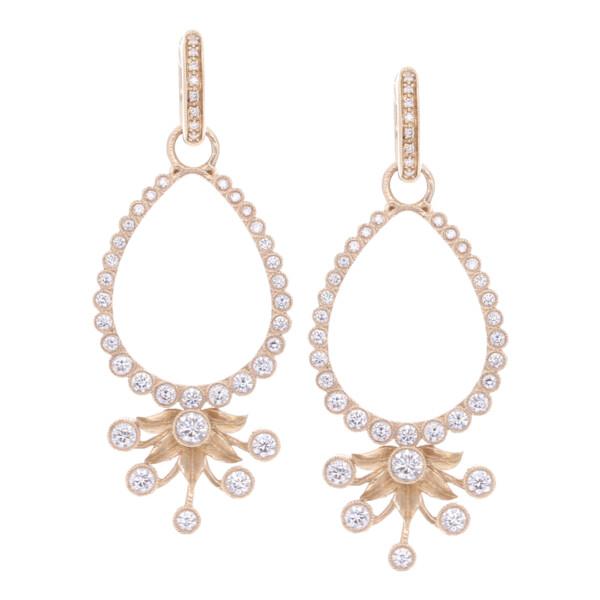 Closeup photo of Diamond Flower Burst Earring Charm Frames