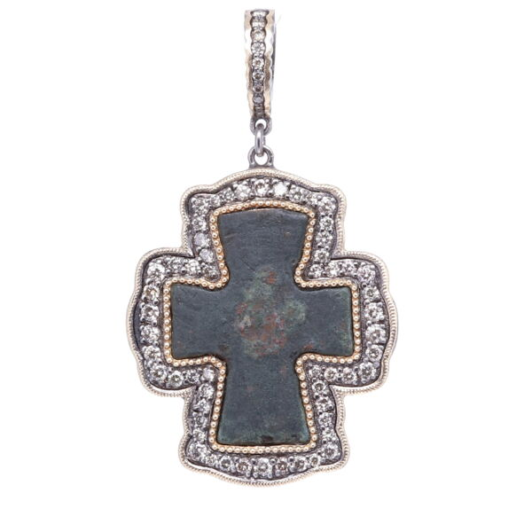 Closeup photo of Byzantine Artifact Cross Pendant