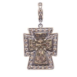 Closeup photo of Antique Russian Orthodox Cross Pendant