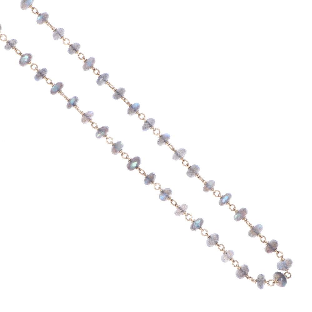 "Image 2 for Labradorite Gold Necklace 26"""
