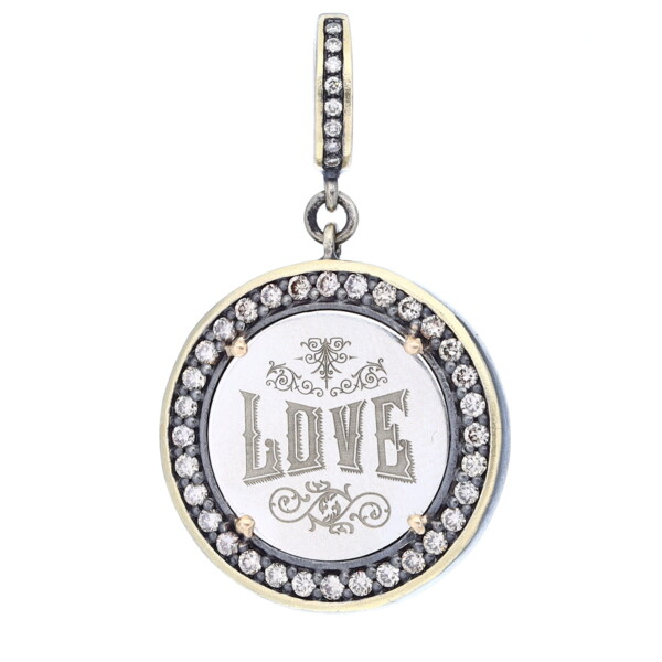 """Closeup photo of Love Token Pendant Engraved with """"Love"""""""