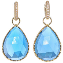Closeup photo of Cecilia London Blue topaz Pear Shaped Earring Charms
