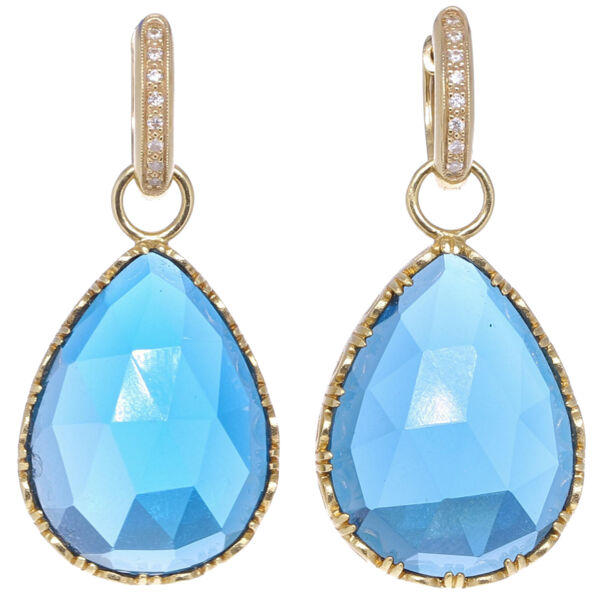 Closeup photo of Cecilia London Blue topaz Pear Shaped Earring Charms