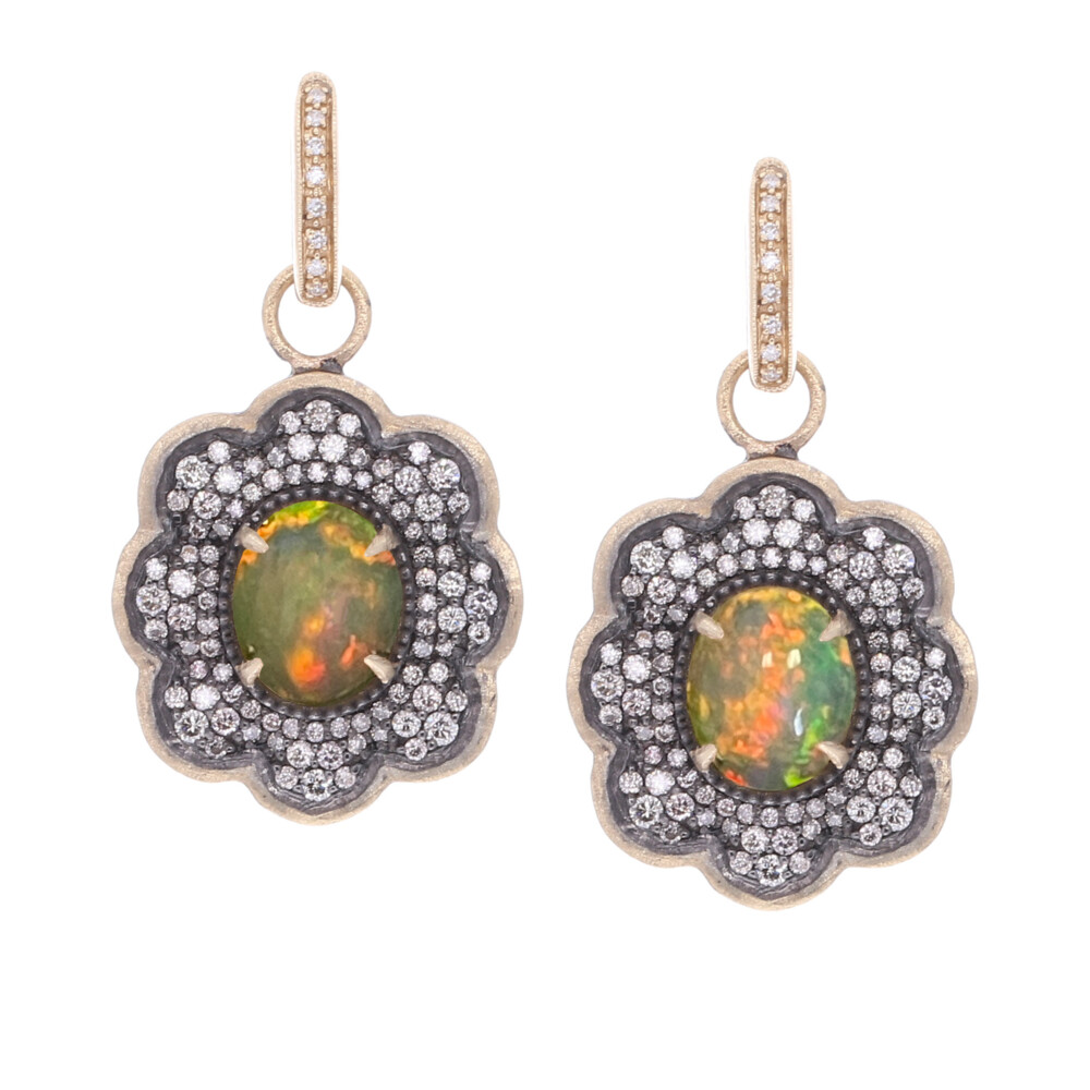 Large Opal Scalloped Earring Charms