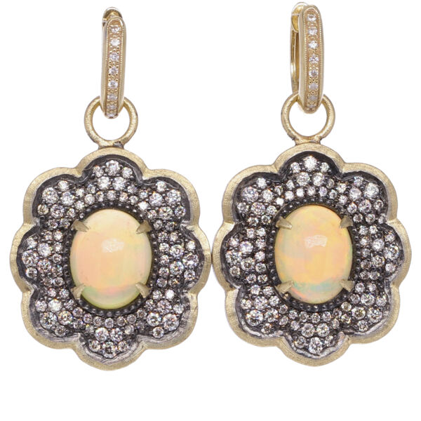 Closeup photo of Large Opal Scalloped Earring Charms