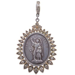 Closeup photo of Spanish Silver Guardian Angel Pendant