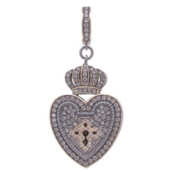 Closeup photo of Vintage Heart Shaped Crowned Padlock