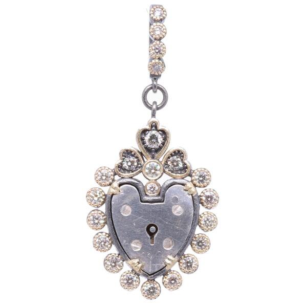 Closeup photo of Antique English Padlock Heart Pendant