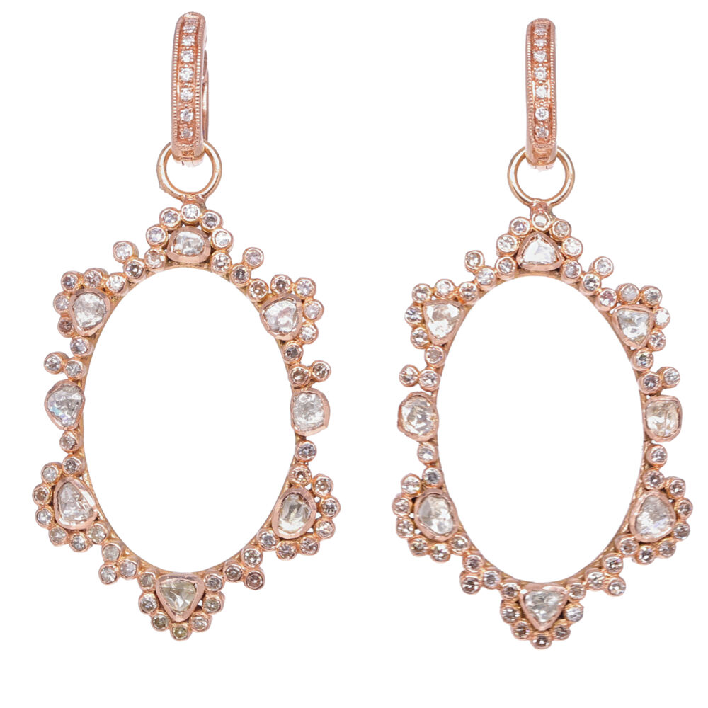 Rose Cut Diamond Earring Charms in Rose Gold