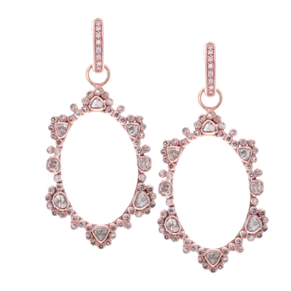 Closeup photo of Rose Cut Diamond Earring Charms in Rose Gold