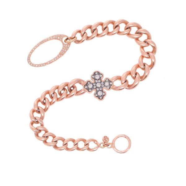 Closeup photo of Vintage Rose Gold Chain with a Diamond Cross Bracelet