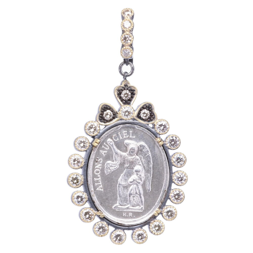 Silver French Guardian Angel Pendant