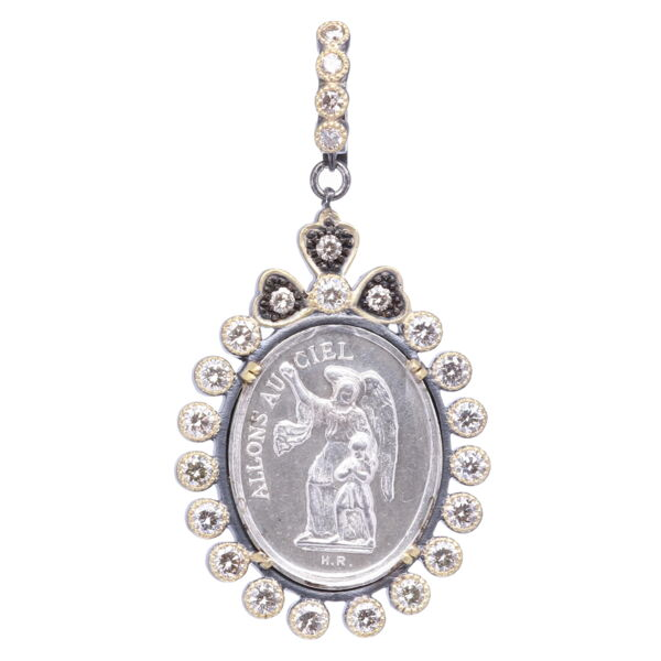 Closeup photo of Silver French Guardian Angel Pendant