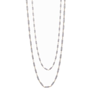 Pre owned 3.57ctw Bezel & Bead Hoops 18K White Gold Earrings
