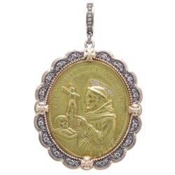 Closeup photo of German St. Francis of Assisi and Miraculous Mary Pendant