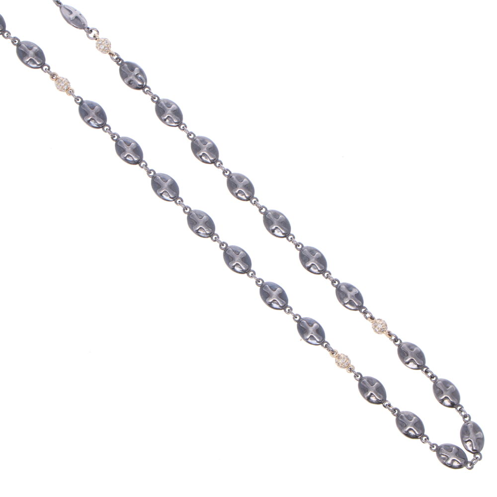 Image 2 for Polished Cross Shield Chain With Yellow Gold Diamond Stations 21""