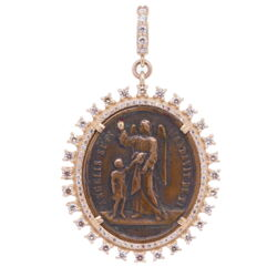 Closeup image for View Byzantine Era Angel And Madonna Heart Shaped Medal By Cynthia Ann Jewels