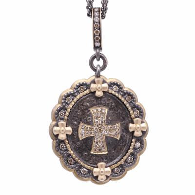 """Cynthia Ann's inspiration for her jewelry collection began as she was grieving the loss of her Mother from cancer.  Her spiritual journey led her to Europe where she started her precious collection of over 1,500 religious crosses and medals that date back to 450 A.D. through the early 1900's.  Cynthia Ann has """"re-purposed"""" this Spanish Nativity Scene & Baptism Medal for you to """"re-love"""". 19th Century Spanish Nativity & Baptism Medal, Surrounded by a Champagne Diamond and 14k Yellow Gold, 5 Prong Set Diamond Bezel, Hanging from a Champagne Diamond and 14k Yellow Gold Openable Bale. 134 Champagne Diamond - 1.42cts 14k Yellow Gold - 9.48g"""