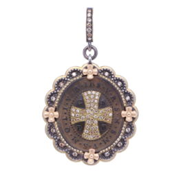 Closeup image for View Large Rose Cut Diamond Victorian Cross By Cynthia Ann Jewels