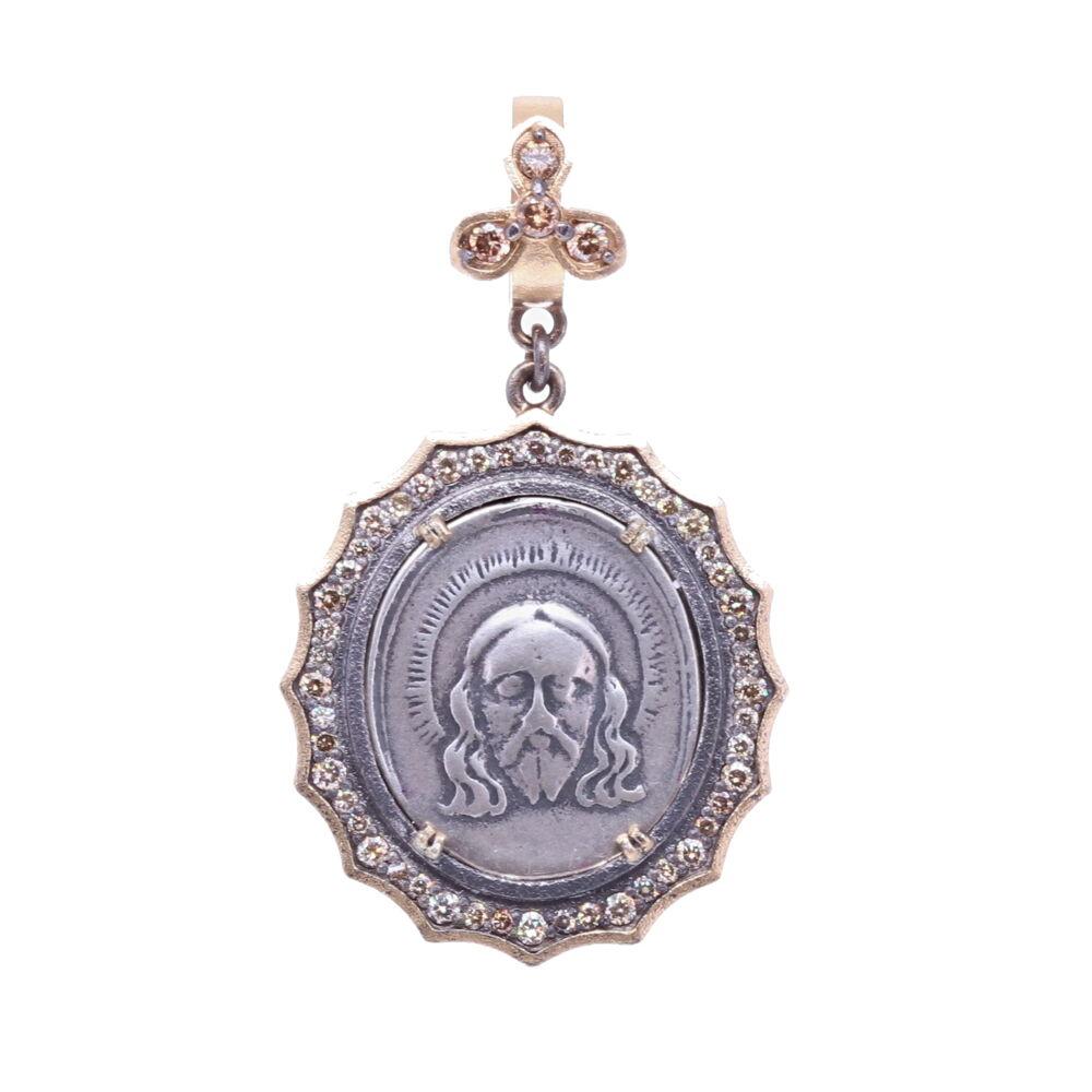 Spanish 19th C. Christ and Lady of Montserrat Pendant