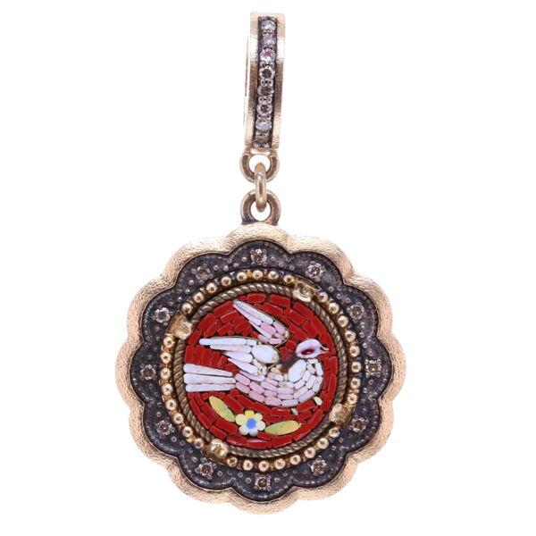 Closeup photo of Red Italian Antique Micro Mosaic Holy Spirit Scalloped Dove Pendant