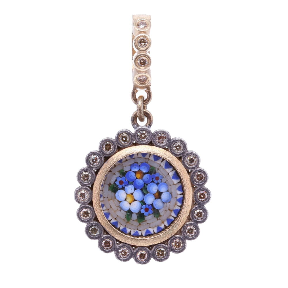 Blue Italian Micro Mosaic Dot Floral Pendant with Glass Cover