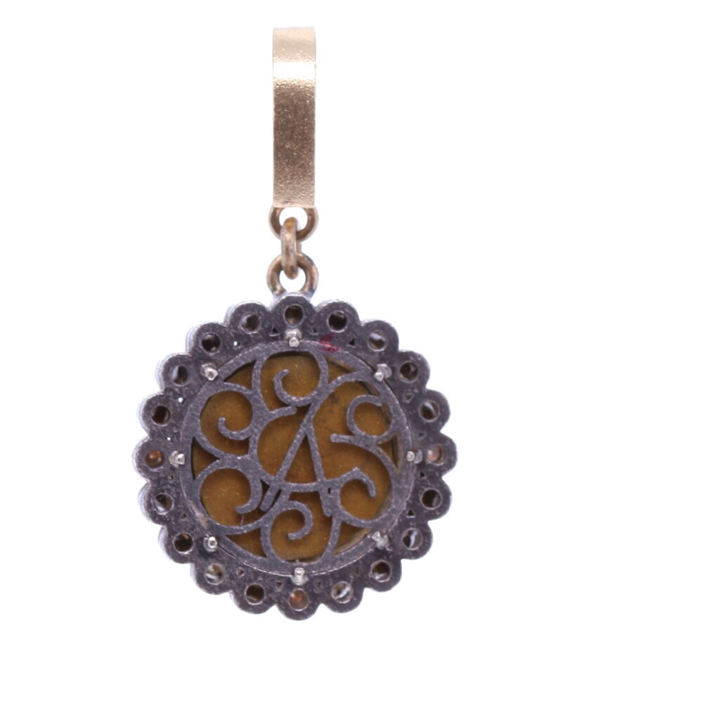 Image 2 for Blue Italian Micro Mosaic Dot Floral Pendant with Glass Cover