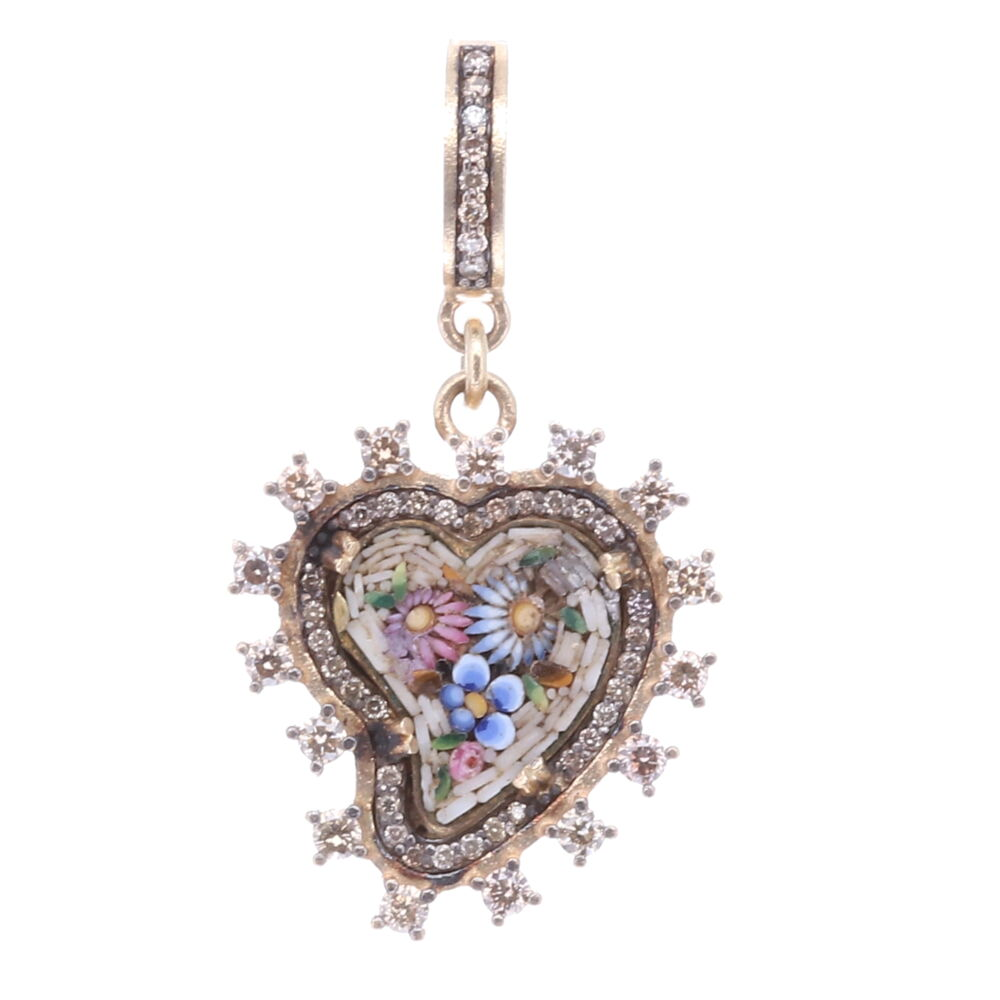Taupe Antique Italian Micro Mosaic Heart Pendant with Multi-Colored Flowers