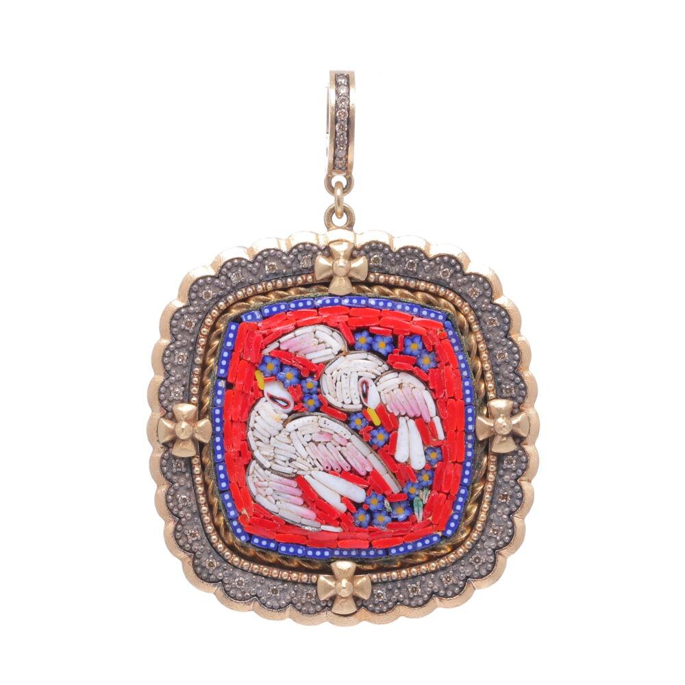 19th C. Italian Micro Mosaic Dove Pendant
