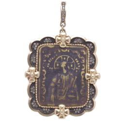 Closeup photo of Antique Russian Resurrection Icon Medal