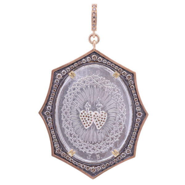 Closeup photo of French Sacred & Immaculate Heart Pendant