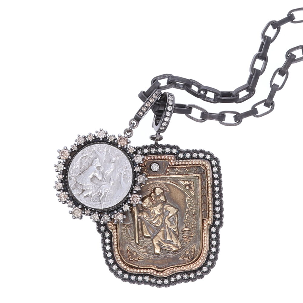 "Image 2 for Antique St. Christopher ""The Gentle Giant in The River"" Pendant"