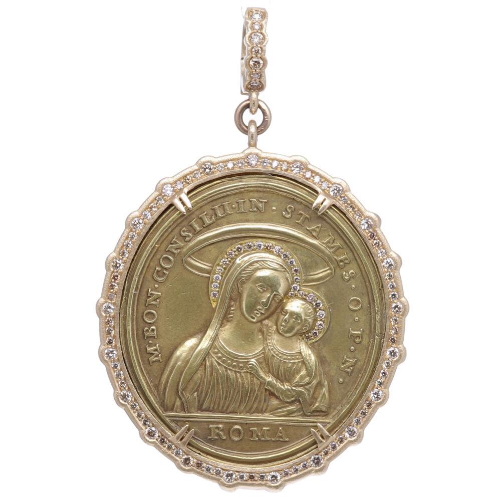Latin Mary, Child and Cherub Pendant
