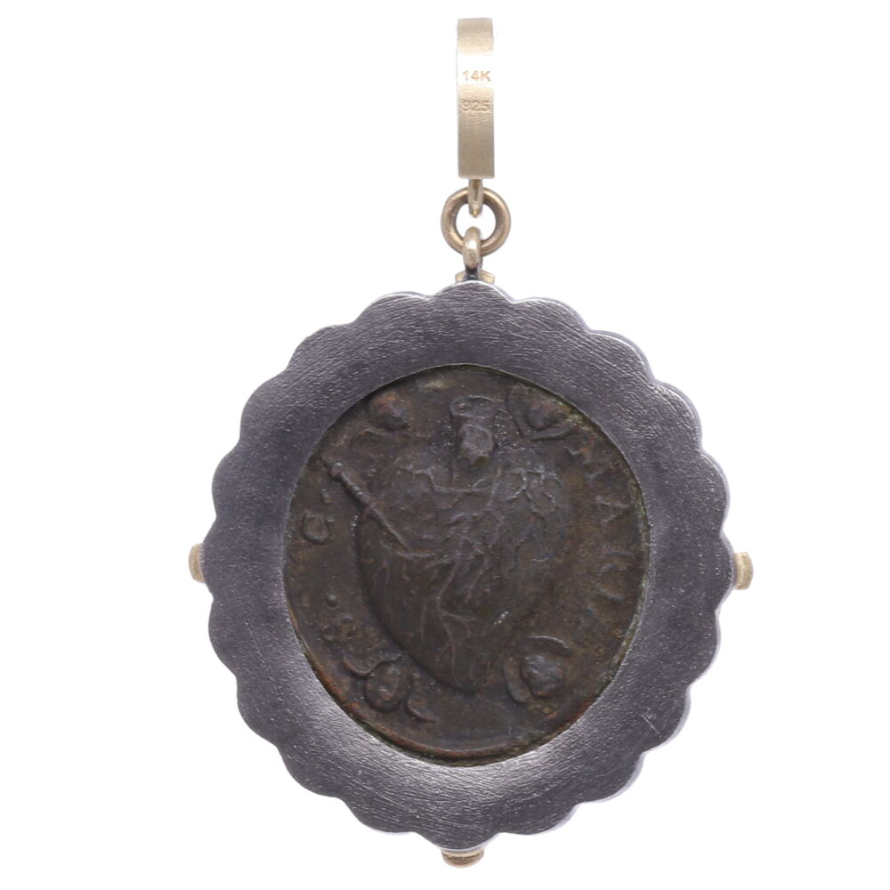 Image 2 for Antique Sacred Heart with Cherubs Pendant