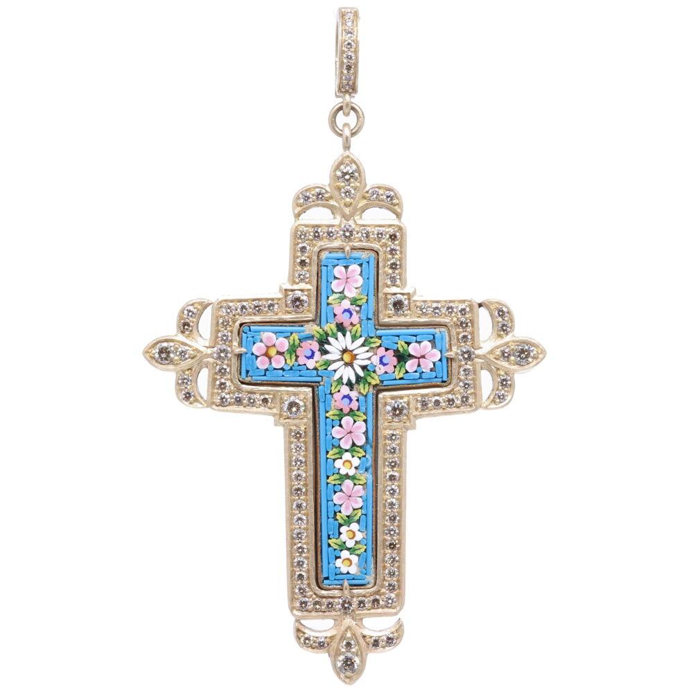 Floral Turquoise Italian Micro Mosaic Grand Tour Cross Pendant