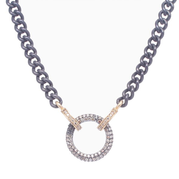 Closeup photo of Classic Diamond Ring Display Chain with Open-able Ring