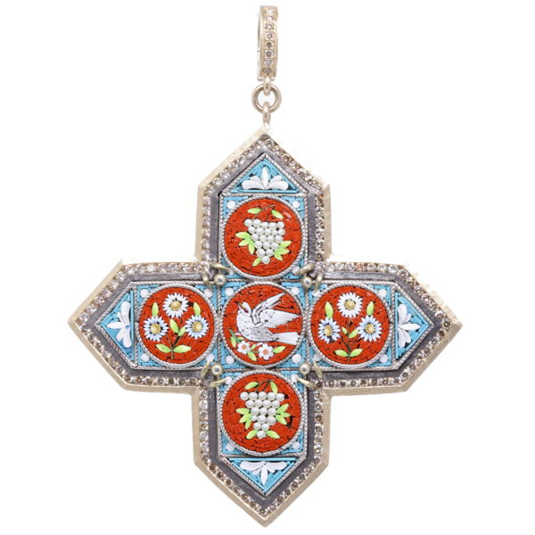 Closeup photo of Italian Grand Tour Micro Mosaic Maltese Cross Holy Spirit Pendant