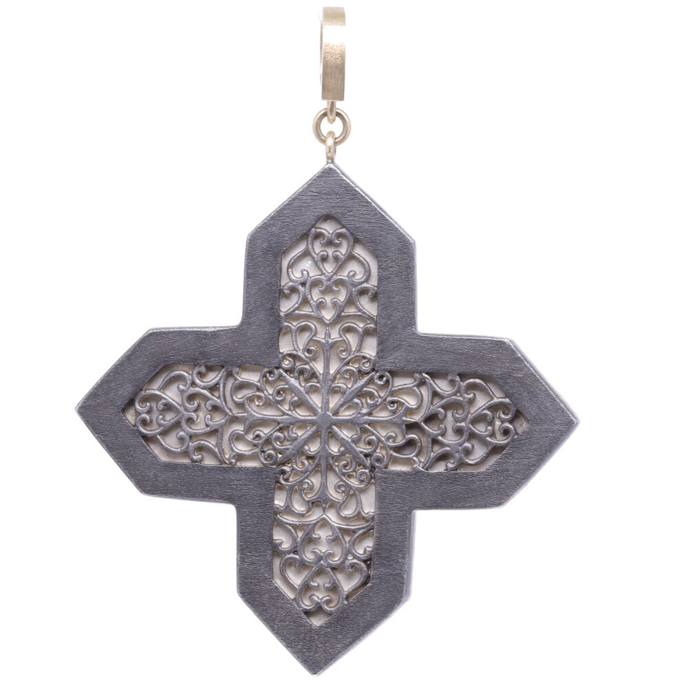 Image 2 for Italian Grand Tour Micro Mosaic Maltese Cross Holy Spirit Pendant