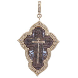 Closeup photo of Large Old Believer Cross with Enamel Pendant