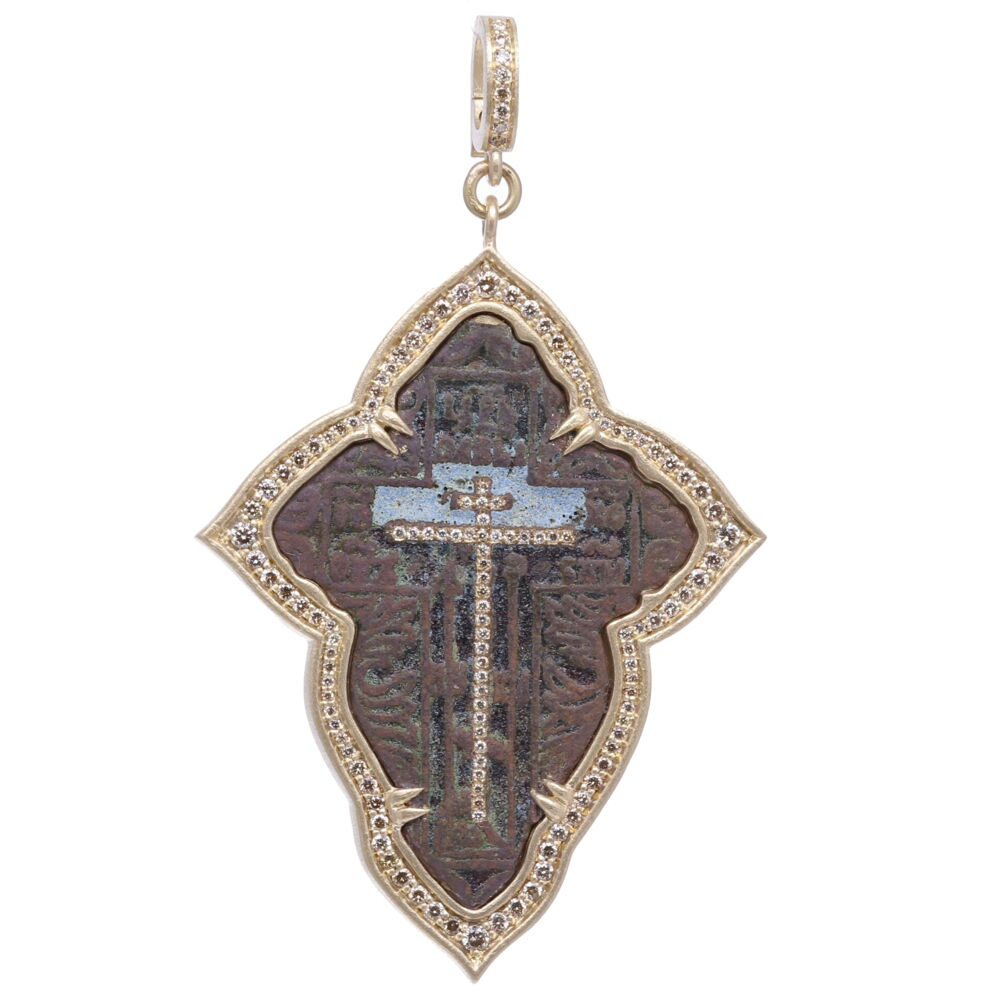 Large Old Believers Cross with Enamel Pendant