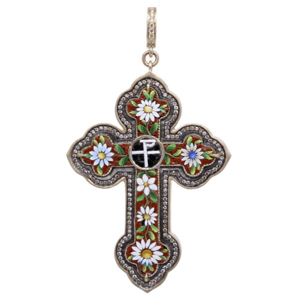 Closeup photo of Italian Grand Tour Chi Rho Micro Mosaic Cross Pendant