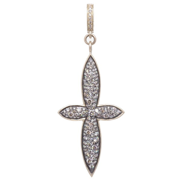 Closeup photo of Large Classic Pave Diamond Cross Pendant
