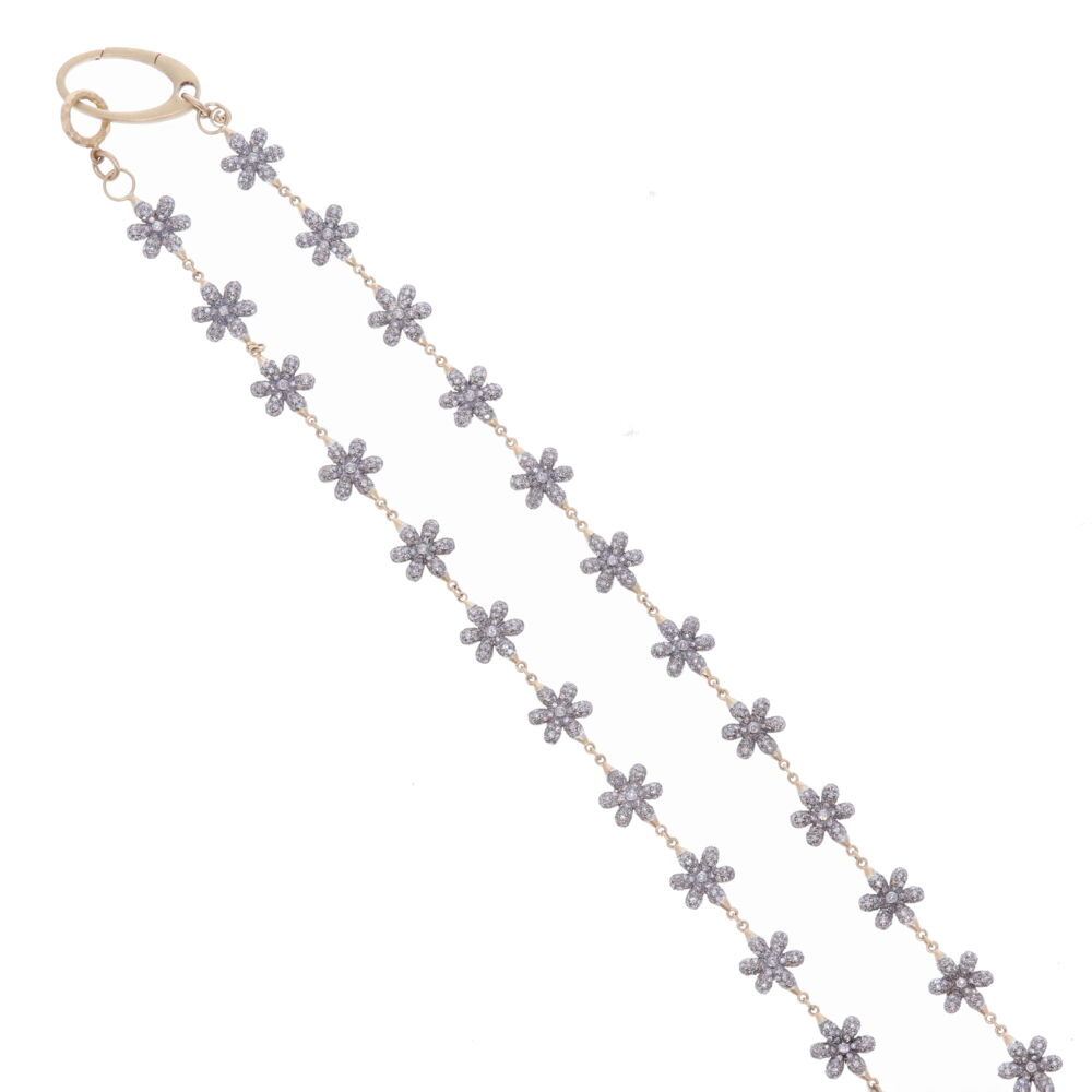 Image 4 for Small Diamond Floral Link Chain 21""