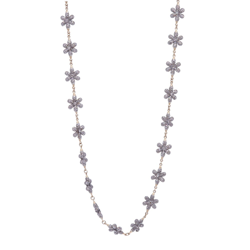 Small Diamond Floral Link Chain 21""