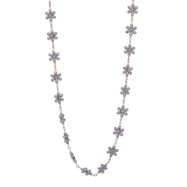 Closeup photo of Small Diamond Floral Link Chain 21""