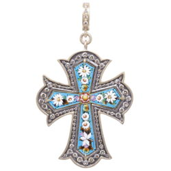 Closeup photo of Turquoise Italian Grand Tour Micro Mosaic Cross