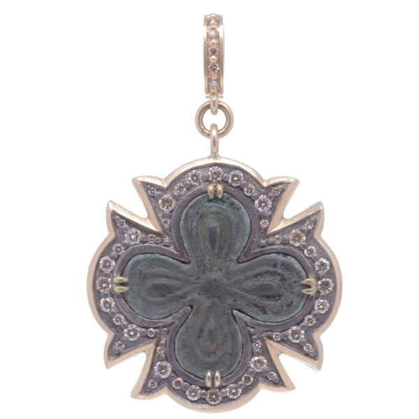 Closeup photo of Ancient Bronze Cross Pendant