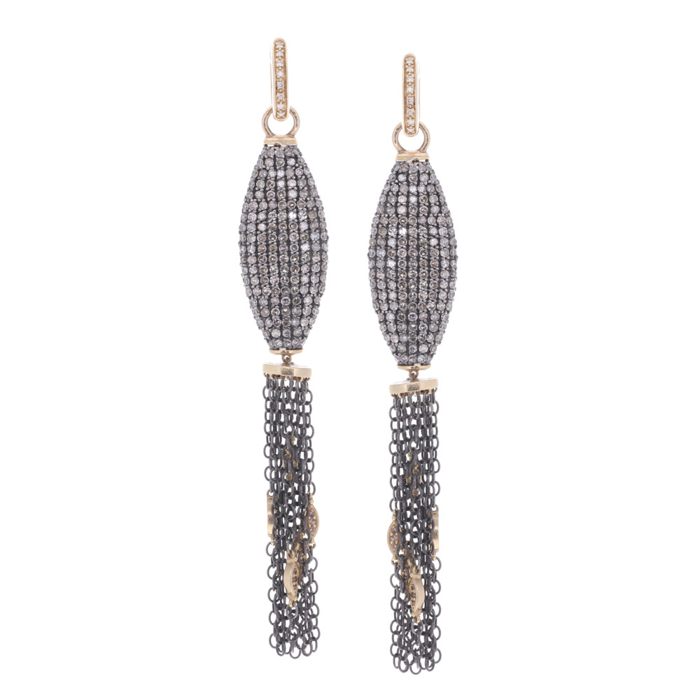 Pave Tassel Earring Charms w/ Marquise Stations