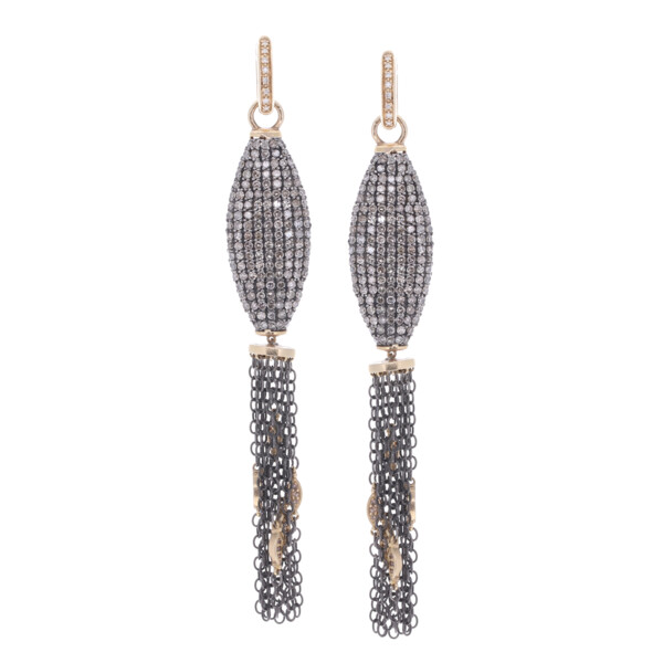 Closeup photo of Pave Tassel Earring Charms w/ Marquise Stations